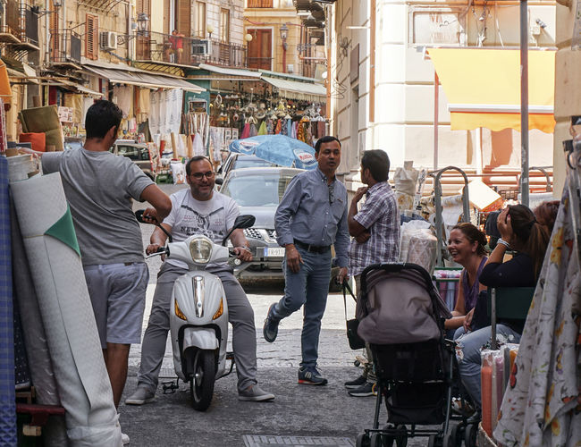 street life in Palermo, Italy City Building Exterior Architecture Built Structure Transportation Mode Of Transportation Street Day Real People Outdoors People Streetphotography Palermo Sicily Travel Street Life Travel Photography