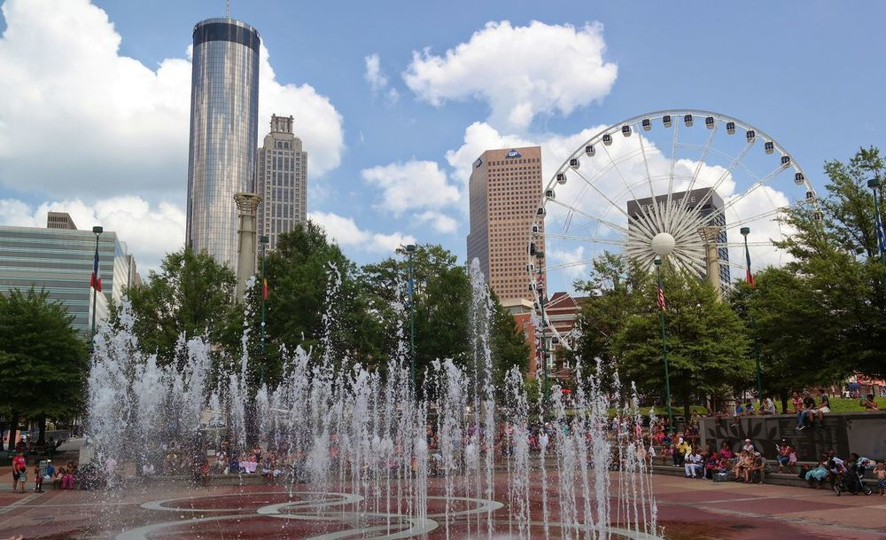 Hanging Out Check This Out Hello World Centennial Olympic Park Atlanta City City Life Citylife Summer Summer Fun Summerfun Ferris Wheel 🎡 Waterfalls Water Show Fountains Blue Sky Blue Wave The Graphic City
