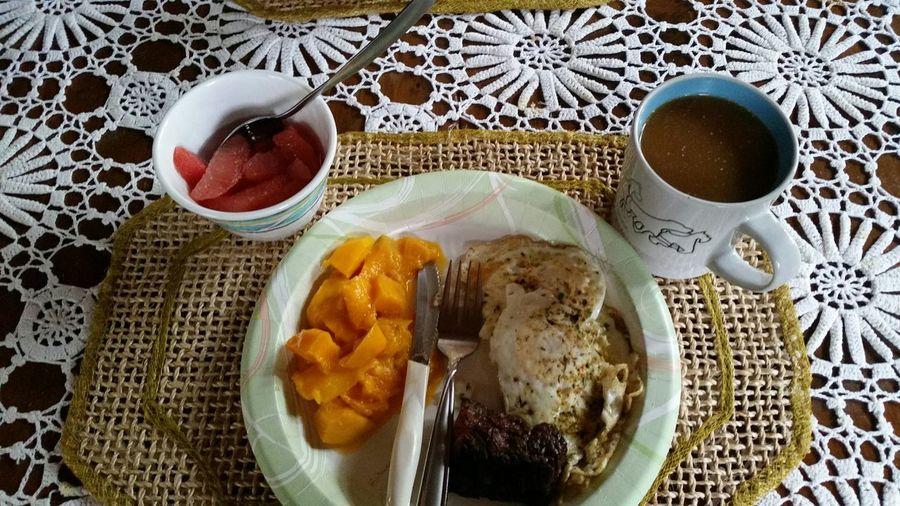 Mango Eggs Steak Grapefruit Coffee And Coconut Creamer