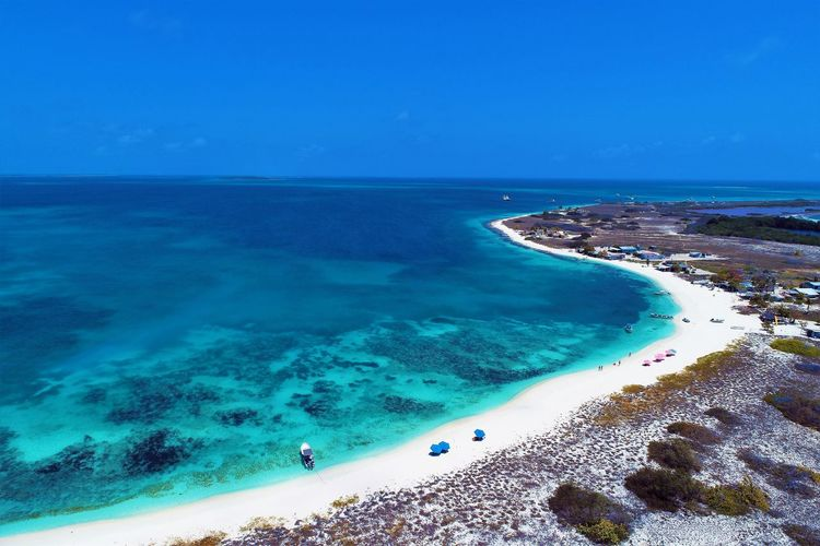 Aerial view of island and beach in Los Roques, Venezuela Sea Water Land Beach Scenics - Nature Beauty In Nature Blue Sky Horizon Over Water Nature Horizon Sand Tranquility Tranquil Scene Day Incidental People Vacations Trip Holiday Turquoise Colored Outdoors Los Roques Madrisqui Caribe Caribbean Caribbean Life Caribbean Island Francisqui Crasqui Carenero's Beach Cayo De Agua Venezuela