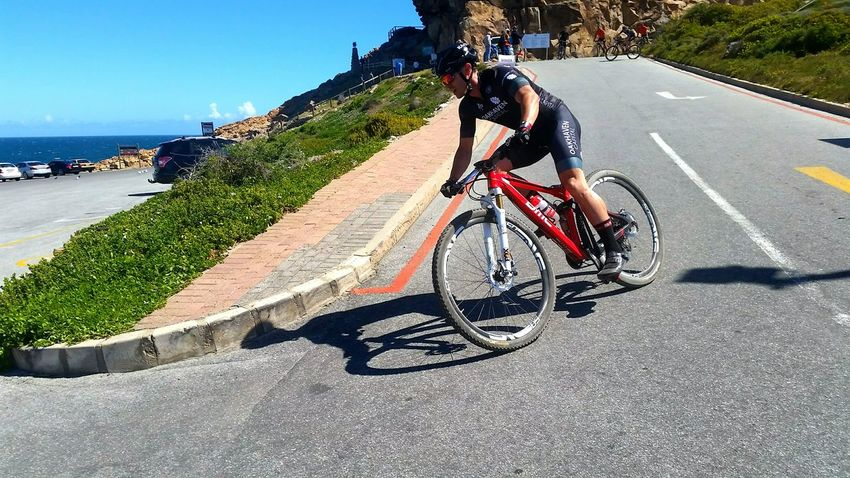 Transportation Shadow Bicycle Mode Of Transport Land Vehicle Sunlight Riding Tree Water Sea Clear Sky Day The Way Forward Cape Pioneer Trek Travel Helmet Motion Mosselbay