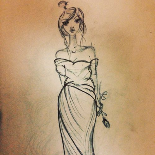 Girl Fashion&love&beauty Art Sketch