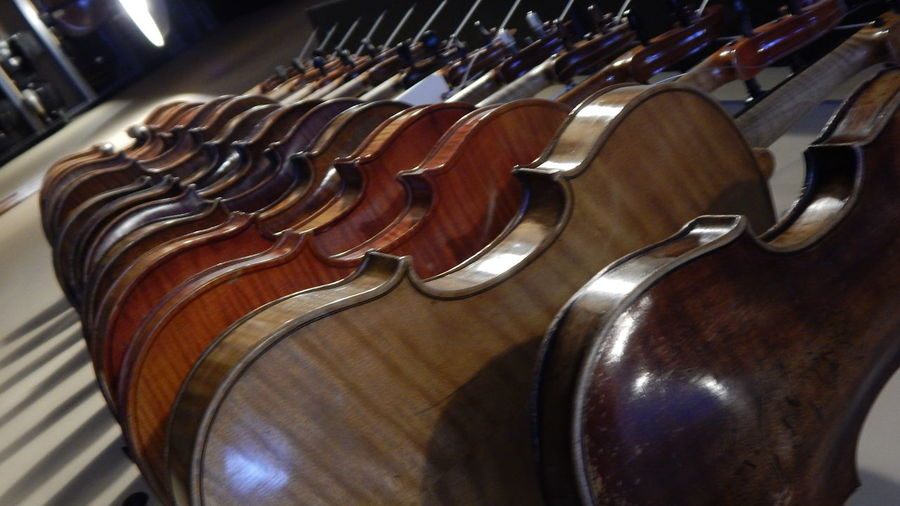 High Angle View Of Guitars Arranged On Floor