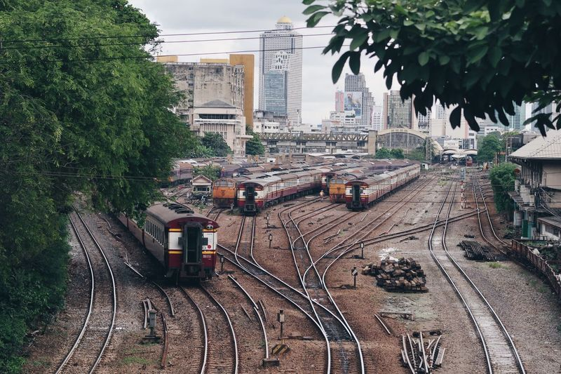 High Angle View Of Shunting Yard Against Sky