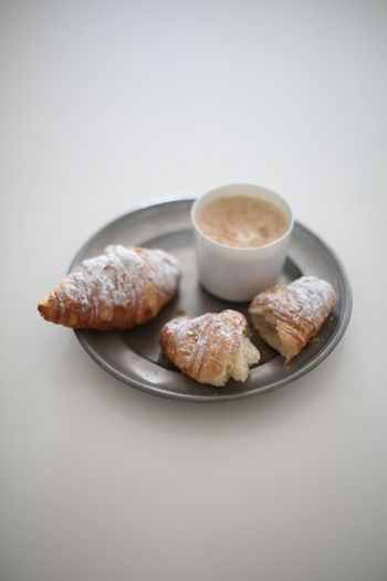 Breakfast Coffee Coffee Time Croissants Food Styling Snack Time! Comfort Food Conetto Food Food And Drink Freshness Gray Background Studio Shot Sweet Food White Background