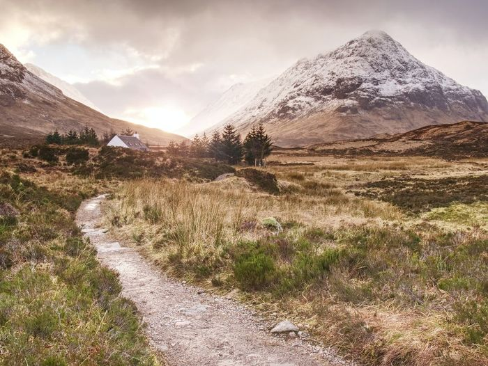 Footpath in glen etive valley at a82 road. cold early spring weather. scottish highland near glencoe