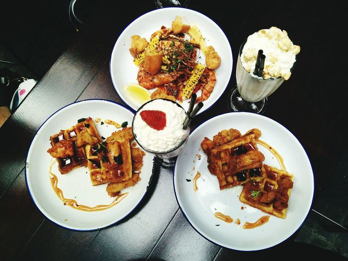 Waffle Wednesday! Waffles Food Milkshake Flatlay On The Table Tabletop Open Edit Fresh 2 Eating Eating Out Yum Delicious