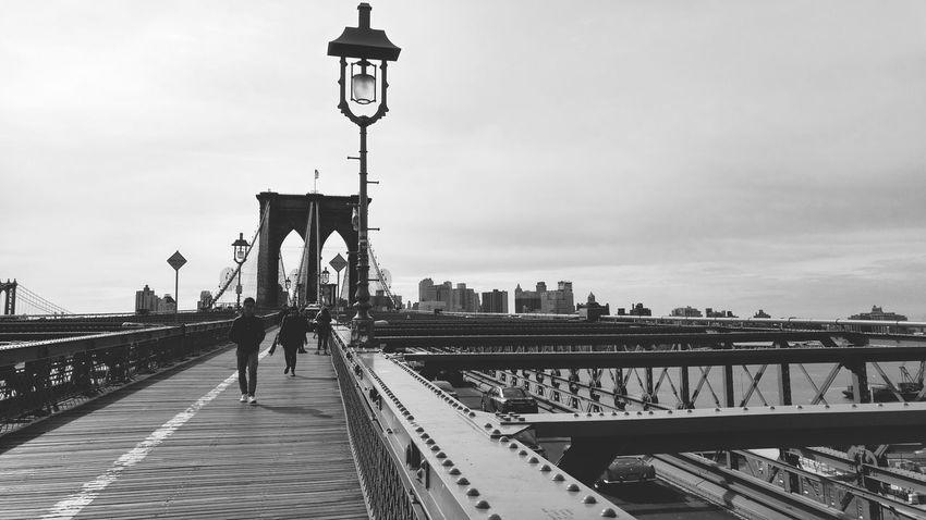 New York City Broklyn Bridge Black & White Cityscape Bridge - Man Made Structure City Sky Day Urban Skyline