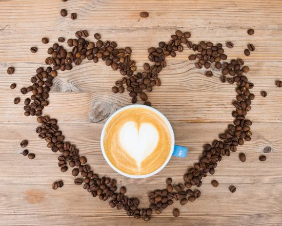 coffee love Cappuccino Coffee - Drink Coffee Cup Directly Above Drink Espresso Food Food And Drink Freshness Froth Art Frothy Drink Healthy Eating Heart Shape High Angle View Indoors  Latte Love Milk No People Refreshment Roasted Coffee Bean Scented Seed Table Wood - Material