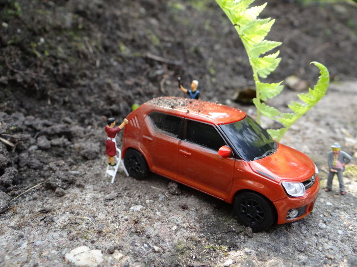 Suzuki Ignis Toys Car Close-up Day Focus On Foreground High Angle View Land Land Vehicle Leaf Little People Little People Big World Miniature Miniature People Miniature Photography Mode Of Transportation Motor Vehicle Nature No People Outdoors Plant Plant Part Red Selective Focus Small Suzuki Toy Toy Car Transportation