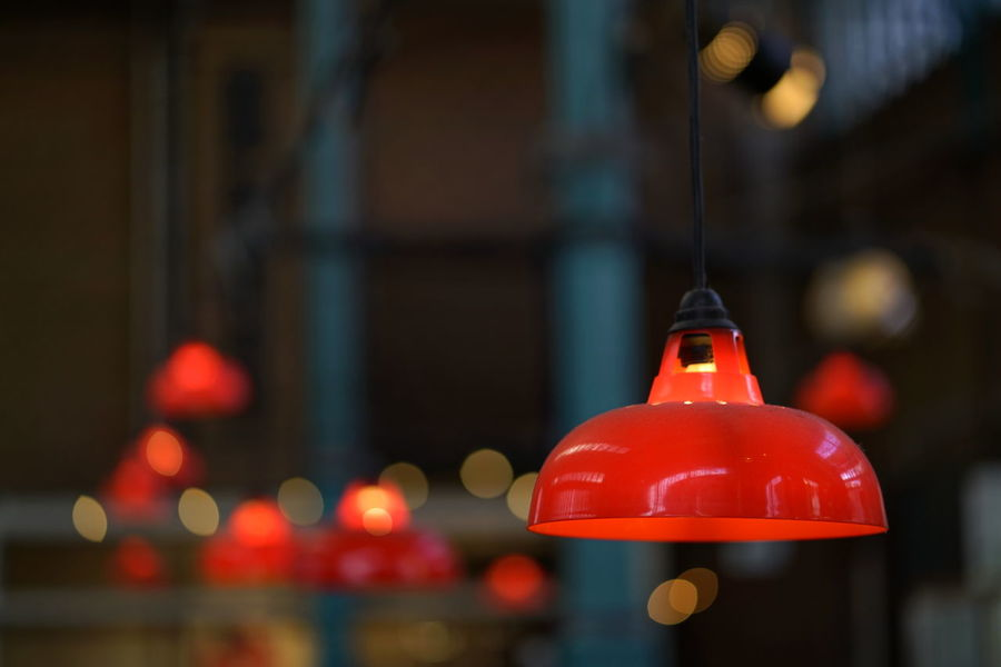 Markthalle Neun Markthalle Neun Illuminated Red Focus On Foreground No People Lighting Equipment Close-up Hanging Indoors  Night Light Electric Light Architecture City Electricity  Built Structure Low Angle View Decoration Technology Electric Lamp