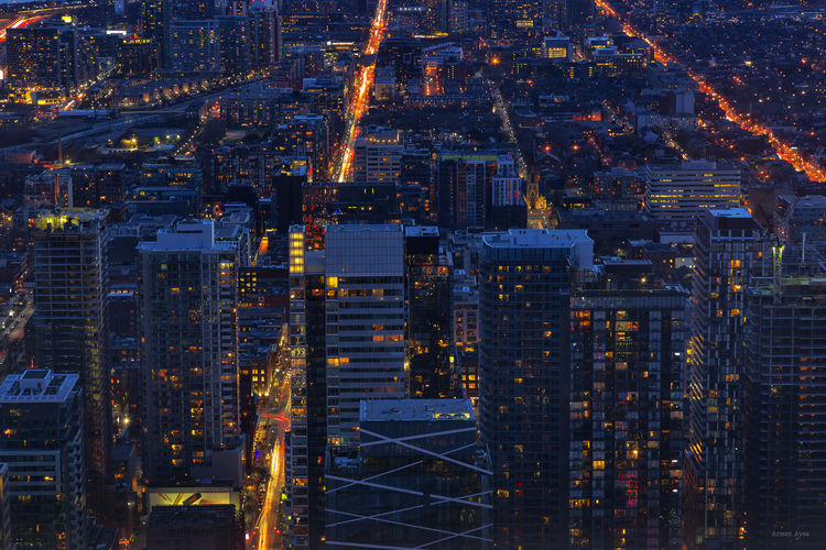 Toronto nite Aerial View Architecture Building Exterior Built Structure Capital Cities  City City Life Cityscape Development Financial District  Full Frame Illuminated Modern Night No People Office Building Outdoors Residential Building Residential District Sky Skyscraper Tall Tall - High Tower Travel Destinations