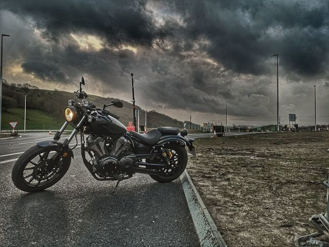 Wet windy Hail.... Yamaha Motorcycle Hello Darkness My Old Friend Bikers Life Motorcycle Photography Motorcycle Lover Motorcycleporn Mototcycle Photography Bikeporn New Road  Stormy Weather Headlight Motorcycle Cloud - Sky Storm Cloud Parking Stationary Scooter