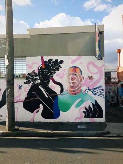 Fitzroy Graffiti Architecture Art And Craft Built Structure City Creativity Day Graffiti Human Representation Melbourne Mural No People Outdoors Street Streetart Streetart/graffiti Streetphotography