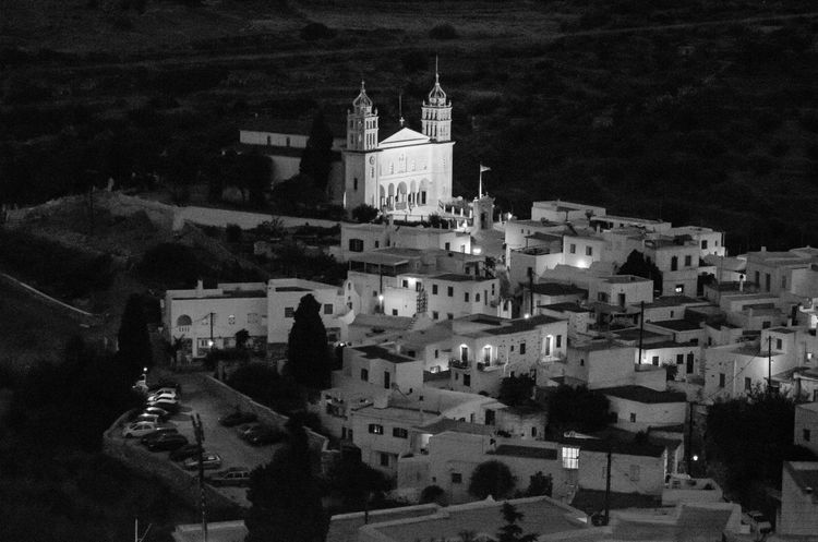 Lefkes at night Church Paros Architecture Building Exterior Built Structure Greece High Angle View History Illuminated Lefkes Night Outdoors Place Of Worship Religion Spirituality Travel Travel Destinations Village