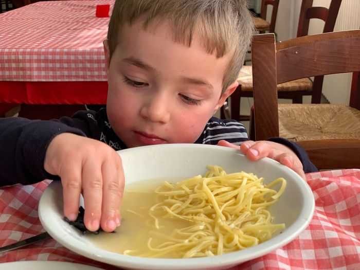 EyeEm Selects Child Childhood Italian Food Pasta Offspring Food And Drink One Person Table Eating Portrait Sitting Headshot Food Boys Spaghetti Males  Men Front View Meal