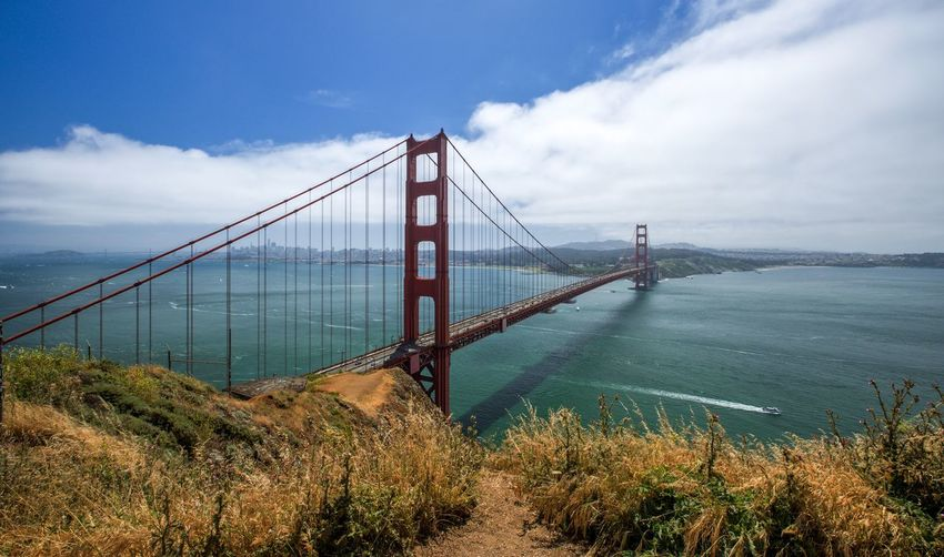 Sky Cloud - Sky Water Suspension Bridge Nature Bridge Bridge - Man Made Structure Built Structure Architecture Connection Transportation Bay Sea Bay Of Water Engineering Travel Destinations Day Travel Outdoors