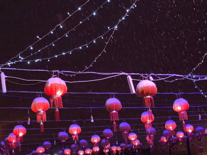 Night Lanterns Beutiful  Snow China