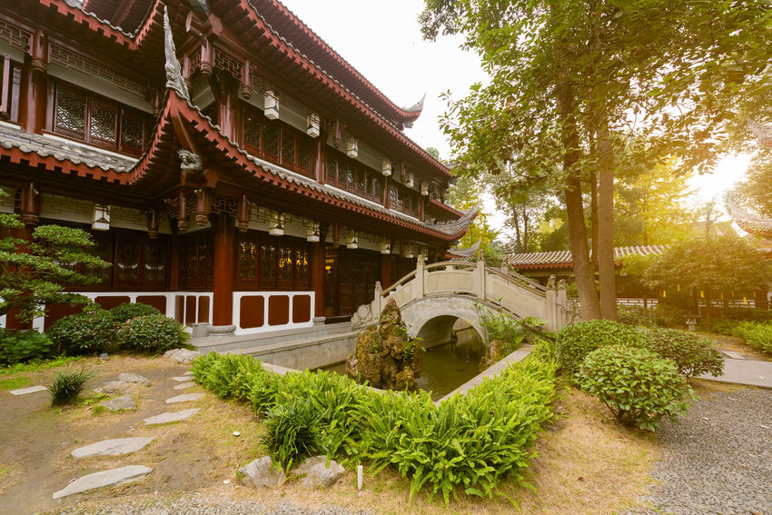 wenshu temple in chengdu Architecture Boudisme Building Building Exterior Built Structure Bush Courtyard  Day Formal Garden Garden Green Color Growth Nature No People Outdoors Plant Religion Roof Sky Temple Tree Wenshu Temple In Chengdu Wenshutemple Wenshuyuan