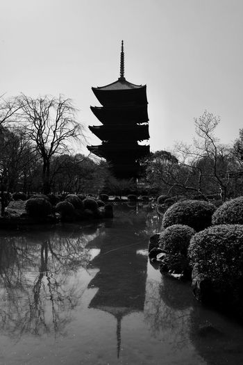 Water reflections To-ji Kyoto Symbol Kyoto Toji Temple Bnw_friday_eyeemchallenge Water Reflection Architecture Silhouette No People Outdoors Beauty In Nature