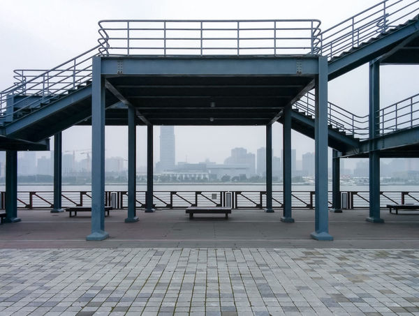Architecture Blue Built Structure China Column Empty Engineering Exploring Hazy  Monochrome Platform Railing Stairs Traveling Traveling In China Waterfront World Expo