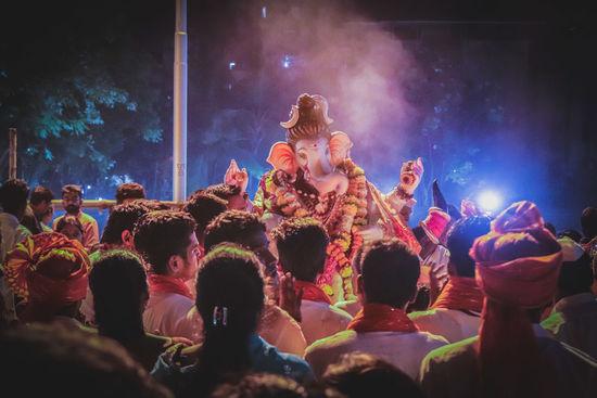 god God GanpatiBappaMorya Popular Music Concert Fan - Enthusiast Holi Crowd Audience Performance Nightlife Togetherness City Applauding Live Event Entertainment Event Atmosphere