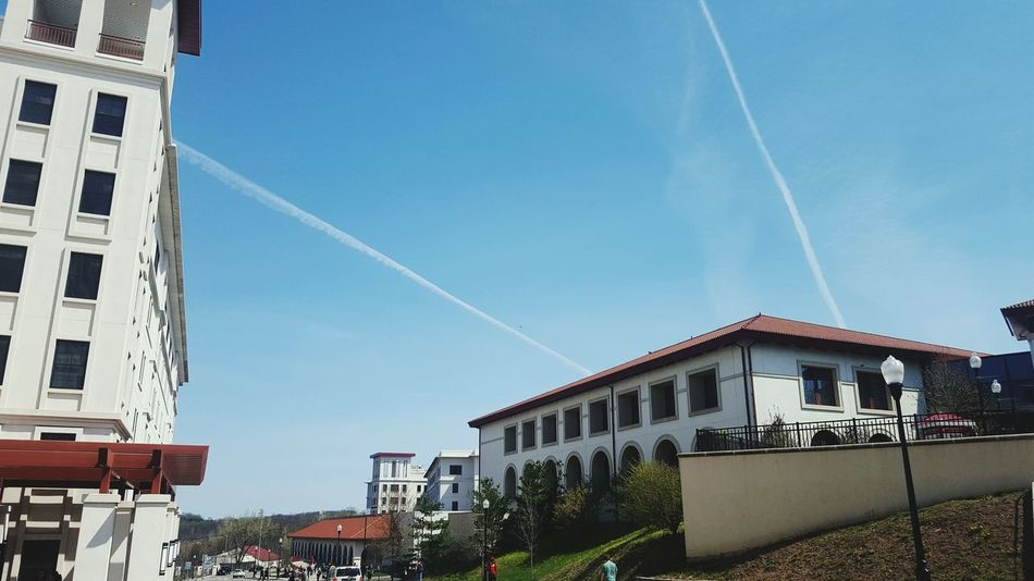 Sky trails on a blue day. MONTCLAIR Montclair State University Sky Relaxing Nj