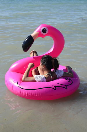 flamingo Cheerful Child Childhood Flamingo Girls Grand Bend, Ontario Happiness Inflatable  Inflatable Ring Lake Huron Lake Huron, Canada Leisure Activity Lifebuoy Lying Down Millennial Pink One Person Outdoors People Pink Playing Portrait Summer Swimming Vacations Water Live For The Story Done That. Connected By Travel