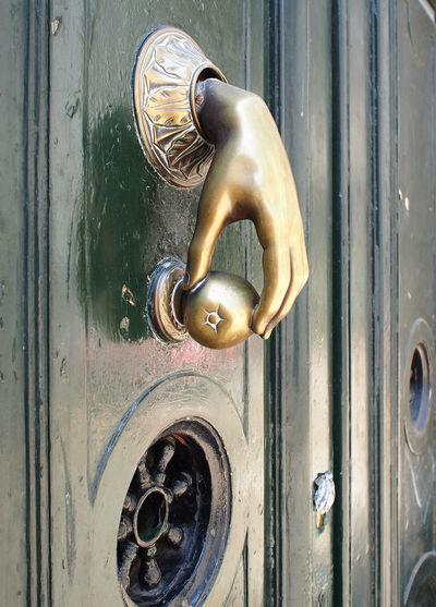 Close-up Day Door Door Knocker Eintrance Green Color No People Outdoors Security Wood - Material
