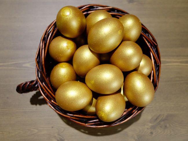 Gold Golden Egg Golden Egg Rich Basket Close-up Food