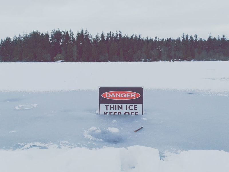 Snow Winter Ice Tree Cold Temperature Text Nature Outdoors Snowing No People Day Bench Frozen Lake Danger Sign Danger Winter First Eyeem Photo