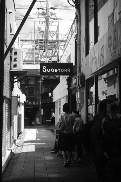 Built Structure Full Length Architecture Building Exterior People City Leica Lens Vintage Lens People Photography Monochrome Black And White Collection  Black&white Epson R-D1 Elmar 3.5cm Kyoto,japan Day Outdoors City Life City Street City Street Bw Shop Signs Shop