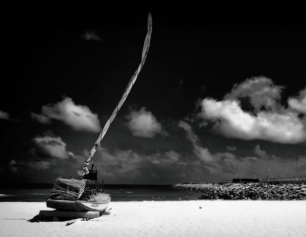 Fortaleza Jangada P&B B&w Beauty In Nature Cloud - Sky Day Nature No People Outdoors Pb Sea Sky Water