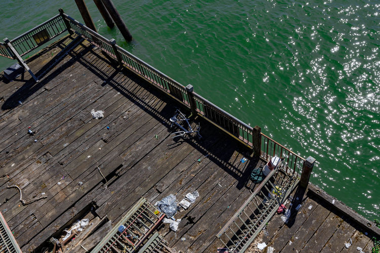 Water High Angle View Sea Nature Transportation Pier Day Wood - Material Nautical Vessel Railing Outdoors Architecture No People Built Structure Sunlight Ship Travel Industry Mode Of Transportation