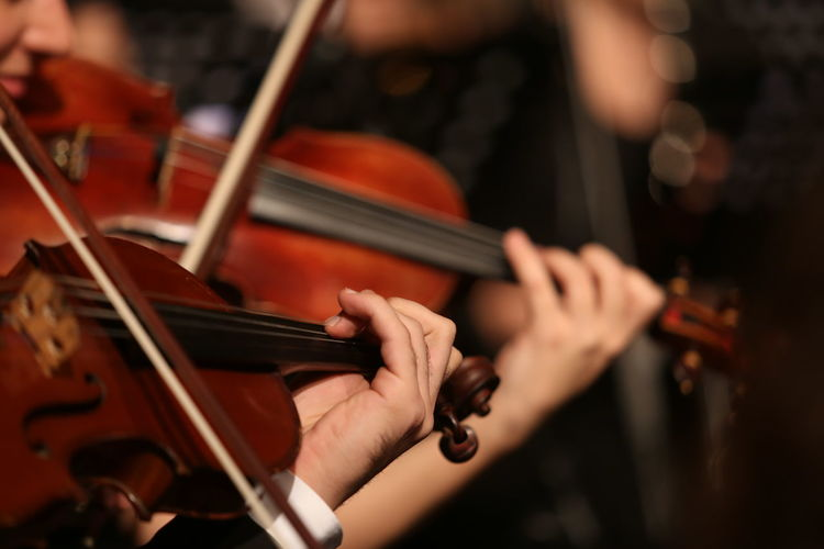Cropped image of people playing violin
