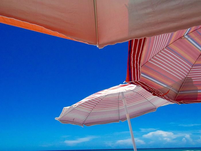 Low angle view of beach umbrellas against a blue sky