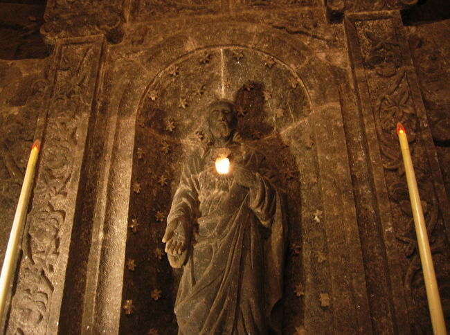 2007 Poland Underground Wieliczka Salt Mine Close-up Day Flame Illuminated Indoors  No People Religion Sculpture Spirituality Statue