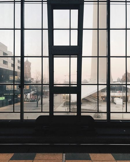 Indoors  Window Architecture Built Structure Day No People Modern Sky Berlin Alexanderplatz Berlin Photography Berliner Ansichten Berlin Mitte Square Station Façade Facades Structure Structures & Lines Morning The Architect - 2017 EyeEm Awards Discover Berlin The Graphic City