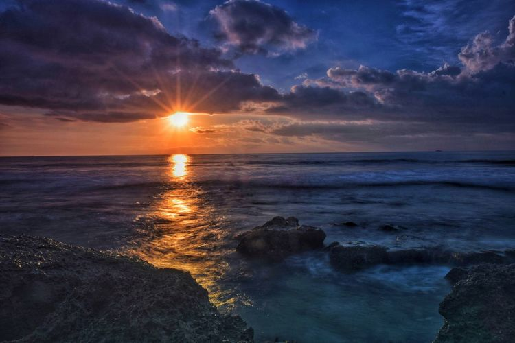Sky Sea Water Beauty In Nature Sunset Scenics - Nature Horizon Over Water Cloud - Sky Horizon Beach Tranquility Tranquil Scene Land Sun Nature No People Orange Color Sunlight Lens Flare Photography Capture Tomorrow EyeEmNewHere My Best Photo