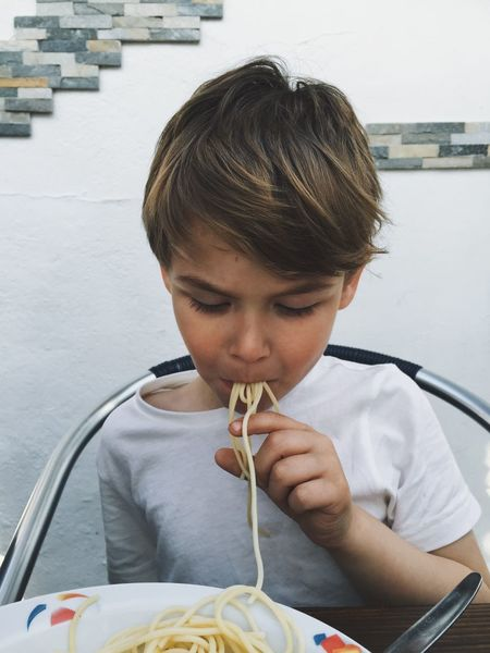 Food Spaghetti Fingers Eating Children Boy Kids Yummy Fun Difficult