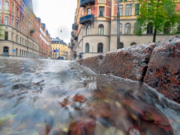 Down the drain! A very rainy day in Stockholm Drain Drainage Flood GULLY Low Angle View Pouring Rain Street Torrential Rain Water Sommergefühle