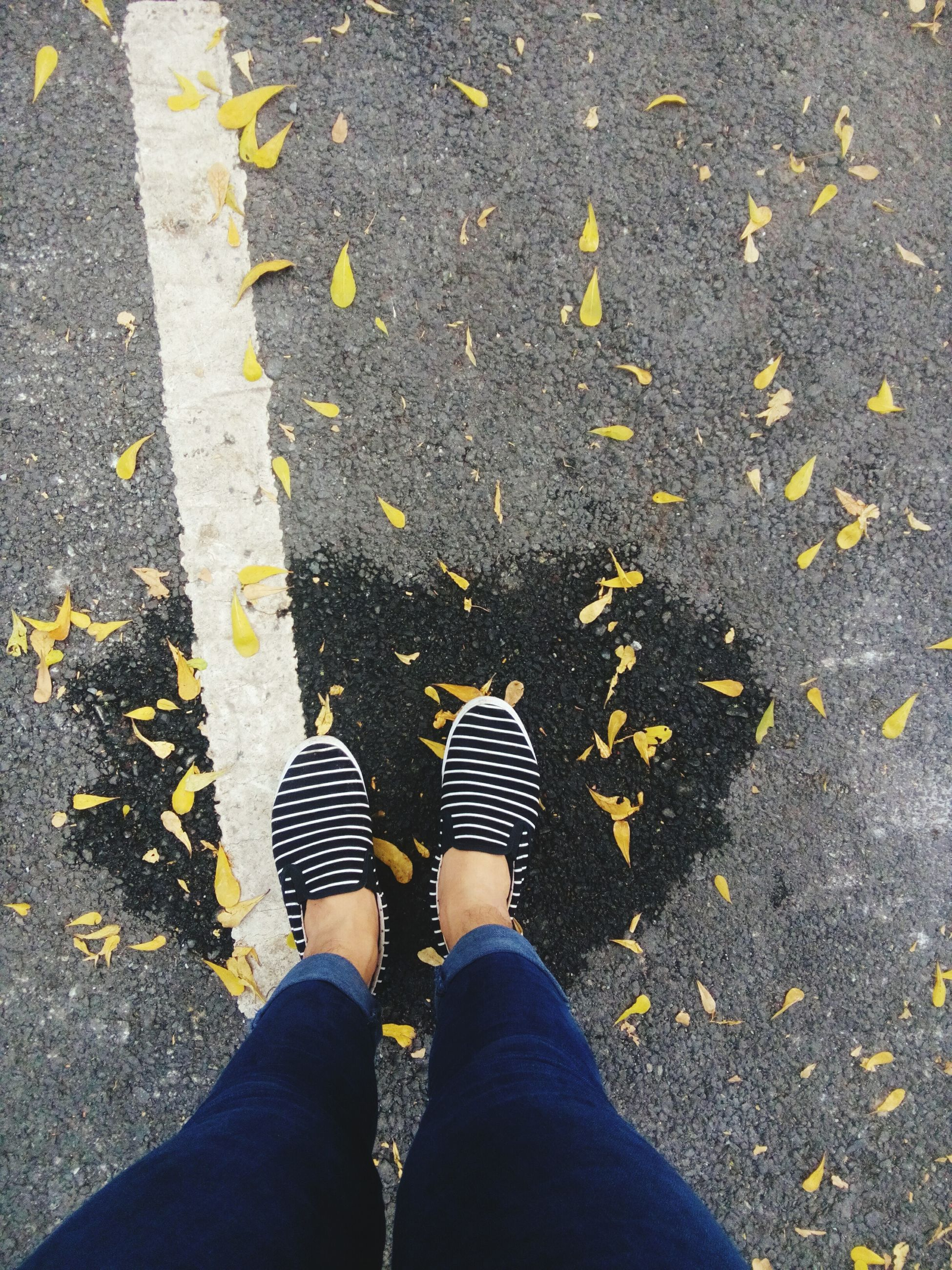 low section, person, personal perspective, high angle view, shoe, standing, lifestyles, street, leisure activity, road, unrecognizable person, men, human foot, asphalt, footwear, leaf, directly above