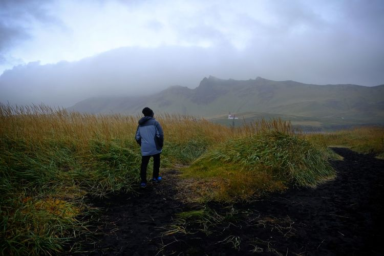 Beauty In Nature One Person Nature Misty Landscape Mountain Range Rain Outdoors Cloud - Sky Fog Path Trail Solitude Hiking Adventure Blacksand Vík í Mýrdal Iceland Betterlandscapes Finding New Frontiers Miles Away Lost In The Landscape