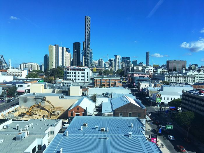 Office view of Fortitude Valley Brisbane City Buildings & Sky Construction Justandkatdownunder Work Skyscraper