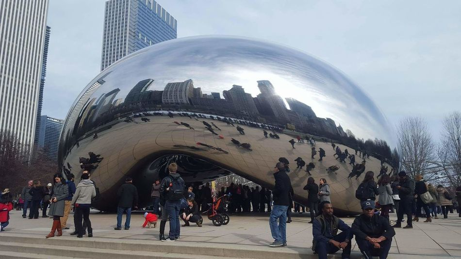 Large Group Of People Cityscape City Architecture Built Structure Skyscraper Building Exterior Chicago Thebean Bean Cloudgate EyeEmNewHere