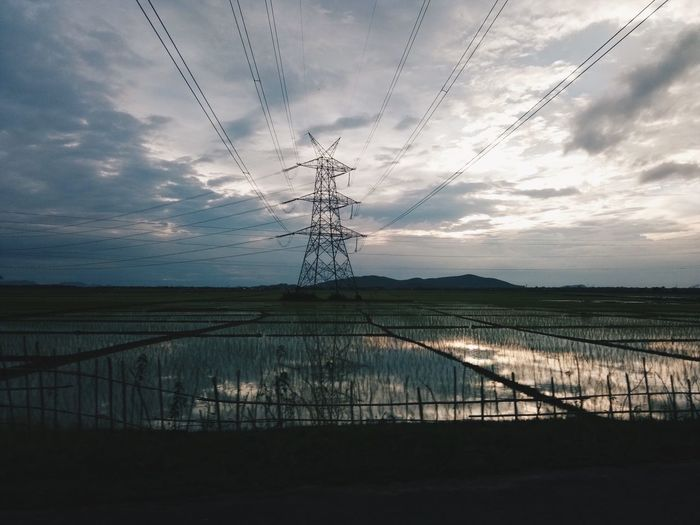 Cable Electricity Pylon Electricity  Connection Power Line  Power Supply Sky Fuel And Power Generation Landscape No People Silhouette Outdoors Tranquility Technology Day Nature Scenics Water Beauty In Nature This Is Masculinity EyeEmNewHere This Is Masculinity