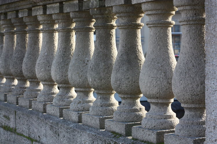 Architectural Column Close-up Column Diminishing Perspective Historic In A Row No People Outdoors Repetition Side By Side Sunny
