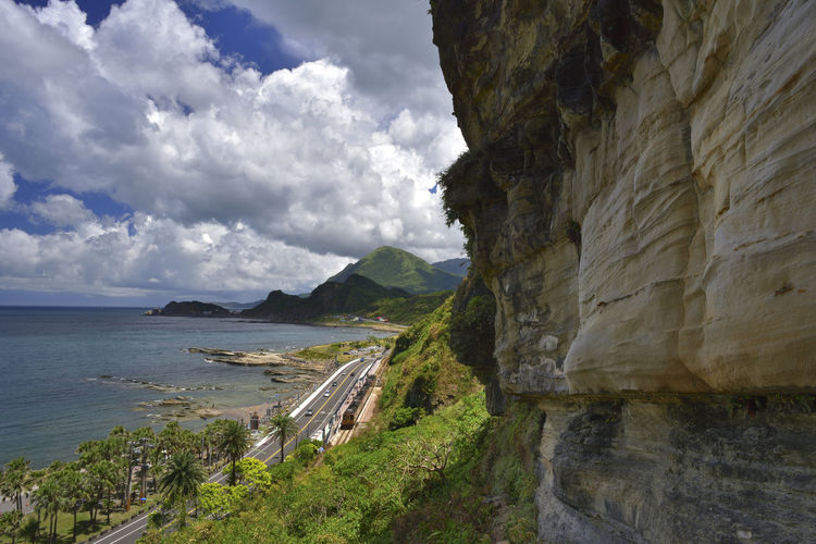Beautiful Rock Sunny Taiwan Traffic Travel Beauty In Nature Cliff Cloud - Sky Coastal Day Grass Horizon Over Water Keelung Mountain Nature No People Outdoors Scenics Sea Sky Train Tranquil Scene Tranquility Water