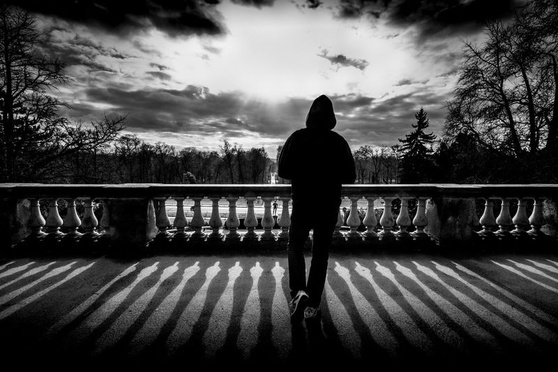 Berlin Potsdam Park Sanssouci Potsdam Full Length Tree Railing Silhouette Real People Rear View Outdoors Standing One Person Cloud - Sky Bridge - Man Made Structure Sky Day Nature People Black And White Friday