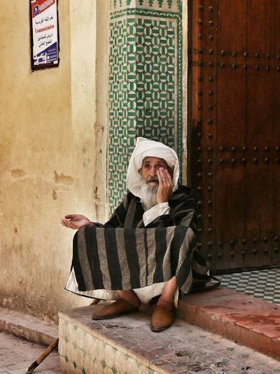 Blind Beggar in front of a Mosque in Fez , Morocco. Doorstep Mosaique People And Places Travel Photography Travel